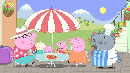 小猪佩奇一家度假时品尝美味的披萨 简笔画