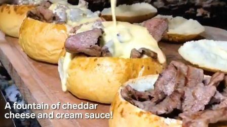 芝士就是力量 黄油香煎拉丝奶酪夹心牛肉饼汉堡面包碗牛肉芝士