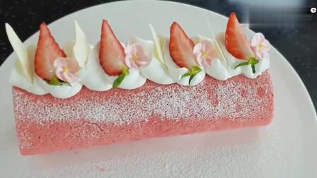 草莓蛋糕卷,连蛋糕胚都是粉红色的,好少女啊!