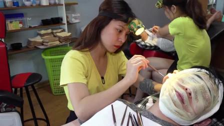 黄瓜敷脸,可爱小姐姐细心掏耳,这样的理发服务,越南才有