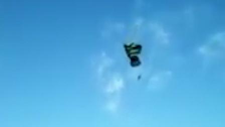 空军学员降落伞打开失败 从高空直直坠落公路上