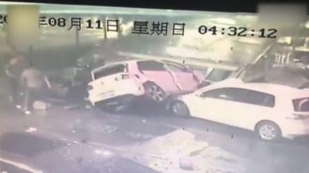 沈阳一环卫工刚走5秒 失控轿车空中旋转360度后坠地