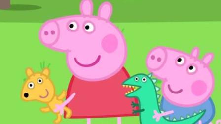 小猪佩奇与弟弟乔治一起抱着玩具儿童卡通简笔画