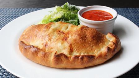 在家制作火腿和奶酪馅的披萨面包,制作简单又美味!