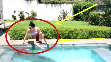尴尬!泳装美女在泳池边滑倒,还好是屁股先落地!