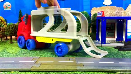 惯性小汽车大卡车和滑板跑道玩具