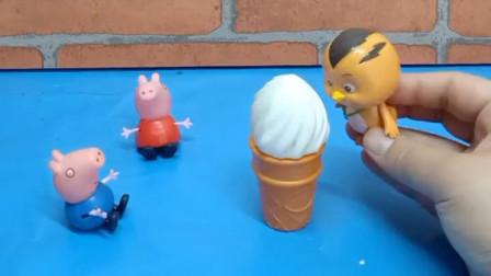 乔治想吃冰淇淋,佩奇回家用猪妈妈新买的冰淇淋机做了个冰淇淋,佩奇做的可真好吃啊