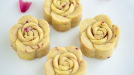 口感超绵密,花香奶香十足的玫瑰绿豆糕来了,超简单,一看就会(~ ̄▽ ̄)~