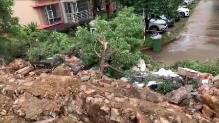 凌晨暴雨围墙倒塌 云南昆明一小区7辆车被砸