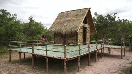 原始技能 生存哥 建造100%竹别墅带私人竹阳台