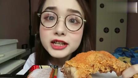 美女小姐姐吃德克士火枪腿,大口吃肉看起来很有食欲