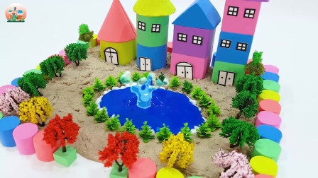 太空泥玩具,制作城堡院墙花园小树玩具真棒