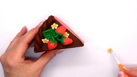 彩泥制作蛋糕 制作水果蛋糕 好新鲜的草莓哦
