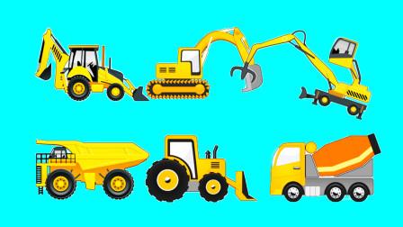 [亲子阿克]工程车视频 工程车拼图 多功能挖机与铲车