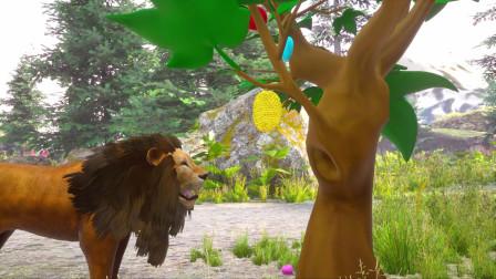 趣味益智动画片 各种动物坐火车吃水果