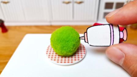 定格动画美食:用针管吸取球球的颜色,然后做成一种零食