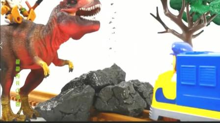 两只恐龙吃鸡腿,大猩猩也来凑热闹,霸王龙玩具世界游戏