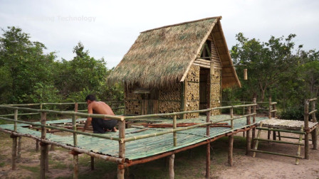 生存哥 在竹屋别墅上打造创意竹屋泳池