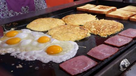 韩国街头小吃鸡蛋炒奶酪吐司,份量看着也太足了吧!