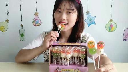 """美食拆箱:小姐姐吃""""果汁小人软糖"""",圆脑袋微笑甜,酸甜超美味"""