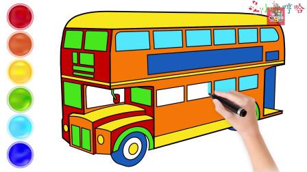 双层的公交车巴士车,10秒绘画过程!