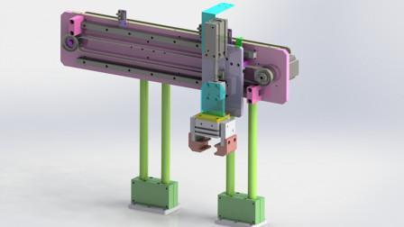 非标机械设计:步进电机带动同步带,宽阔型气动手指执行机构