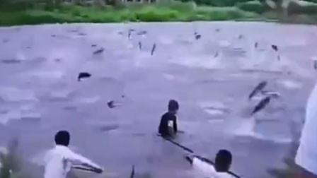 吉林一水库泄洪上万条大鱼空中乱飞 村民疯狂捞鱼