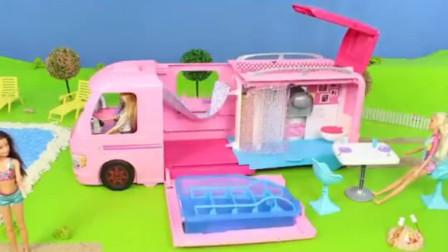芭比娃娃房车玩具 宝宝巴士