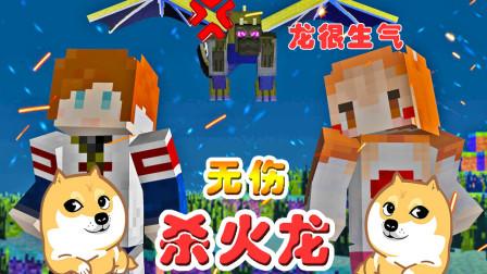 【逍遥小枫 & 馨馨酱】卡位大法杀火龙! | 我的世界Minecraft生活大冒险#6