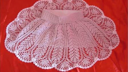 儿童毛线裙,镂空图案,裙摆像羽毛,精致漂亮,针法不难,容易学