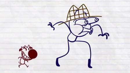 搞笑铅笔动画:神探铅笔人,侦破了偷蛋糕案件,却被女主人一脚踢出大门