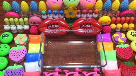 手工达人史莱姆教程,嘴唇彩泥、草莓小饰品、冰淇淋水晶泥、玫瑰花彩泥