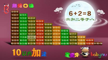 宝贝牛认知学堂第52集 10以内所有加法算式口诀表