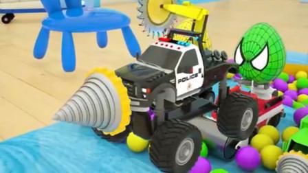 汽车总动员:五辆小汽车获得一只彩蛋用彩蛋里的汽车零件组装一辆超级怪兽警车