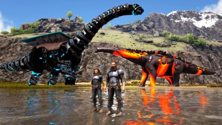 方舟生存进化-VS系列 火焰泰坦龙VS巨型雷龙 谁更厉害