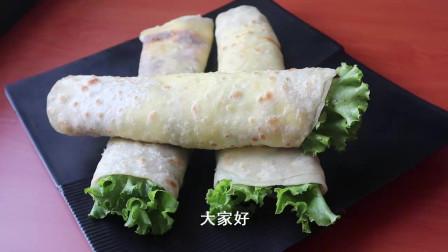 分享河南街边小吃鸡蛋灌饼,做法超简单,外酥里嫩很劲道