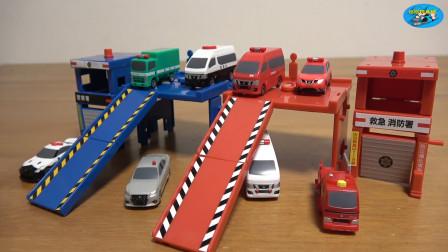 新车拆盒惯性玩具车,组装超级高层车库,救急消防车,儿童玩具亲子互动,悠悠玩具城