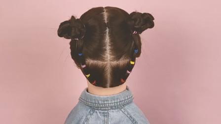 宝贝女儿爱臭美,我就给她这么扎头发,这下更美了
