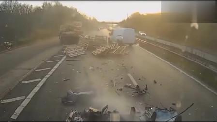 惨遭大货车追尾,SUV瞬间成铁饼,司机到死都不知道发生了什么