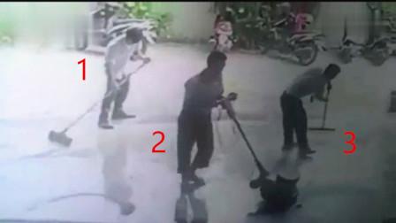 三男子正在施工,要不是监控,下一秒难以置信