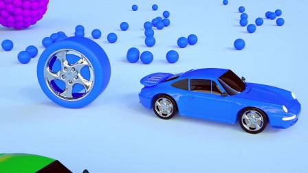 趣味益智动画片 跑车与七彩大轮胎