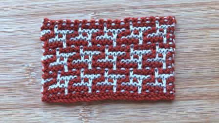 双色马赛克花样,精致立体,织大衣织围巾不要太好看哦毛线的编织过程