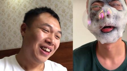 小伙想变美,网购销量100万黑面膜,结果满脸泡沫搞得自己都笑了