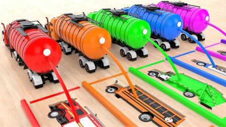 超神奇!闪电麦昆竟然变成一条船?油罐车给它们涂上5种颜色!儿童玩具游戏故事