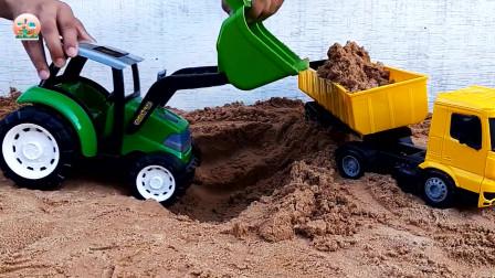 履带推土机和拖拉机推土机玩具,自卸大卡车玩具