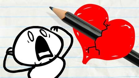 搞笑铅笔画小人:心爱的气球被扎漏气?
