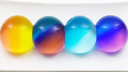 手工DIY制作彩虹果冻泥球 创意史莱姆视频 太好玩了