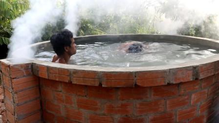 小伙买不起热水器,灵机一动,在野外自制温泉:贫穷使我万能!
