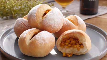 烘焙新手也能做的玉米面包,教程简单易学,面包松软喷香