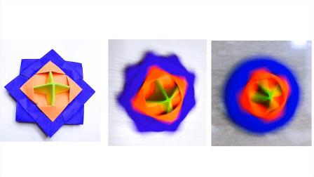 折纸教程:旋转陀螺,真的可以转很久,折起来也很简单哦
